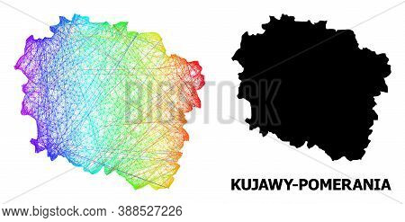 Wire Frame And Solid Map Of Kujawy-pomerania Province. Vector Structure Is Created From Map Of Kujaw