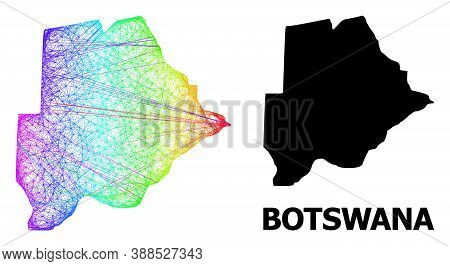 Wire Frame And Solid Map Of Botswana. Vector Model Is Created From Map Of Botswana With Intersected