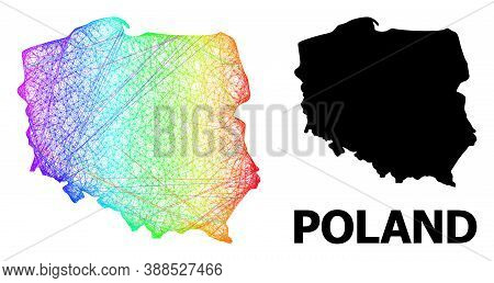 Wire Frame And Solid Map Of Poland. Vector Structure Is Created From Map Of Poland With Intersected