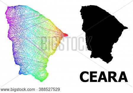 Network And Solid Map Of Ceara State. Vector Structure Is Created From Map Of Ceara State With Inter
