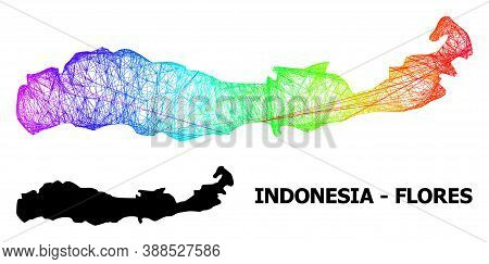 Wire Frame And Solid Map Of Indonesia - Flores Island. Vector Structure Is Created From Map Of Indon
