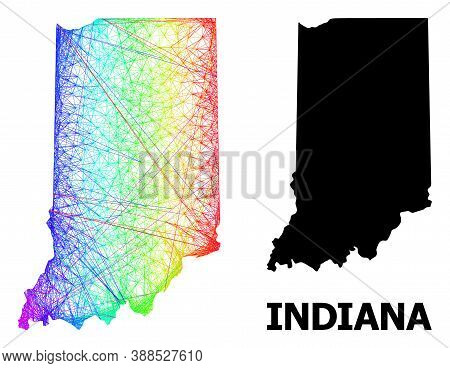 Wire Frame And Solid Map Of Indiana State. Vector Structure Is Created From Map Of Indiana State Wit