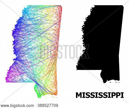 Wire Frame And Solid Map Of Mississippi State. Vector Structure Is Created From Map Of Mississippi S