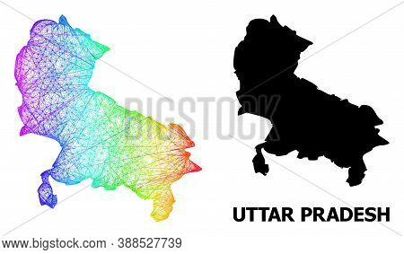 Network And Solid Map Of Uttar Pradesh State. Vector Structure Is Created From Map Of Uttar Pradesh