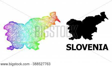 Network And Solid Map Of Slovenia. Vector Structure Is Created From Map Of Slovenia With Intersected