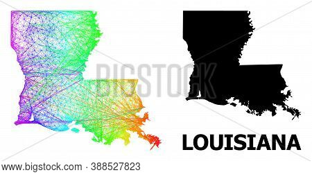 Net And Solid Map Of Louisiana State. Vector Model Is Created From Map Of Louisiana State With Inter