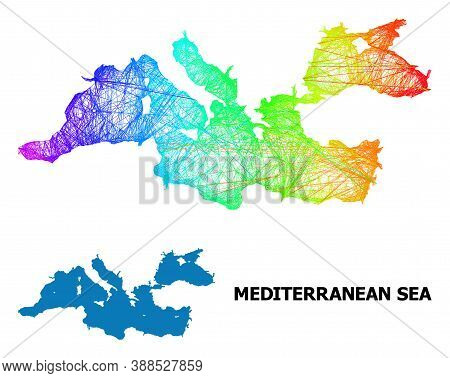 Net And Solid Map Of Mediterranean Sea. Vector Structure Is Created From Map Of Mediterranean Sea Wi