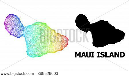 Wire Frame And Solid Map Of Maui Island. Vector Model Is Created From Map Of Maui Island With Inters