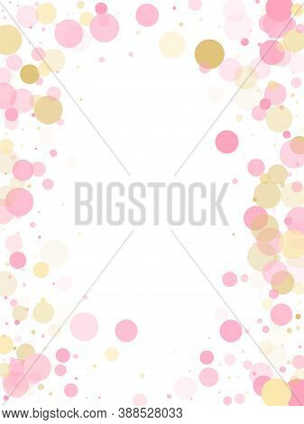 Rose Gold Confetti Circle Decoration For Christmas Card Background. Holiday Vector Decor. Gold, Pink
