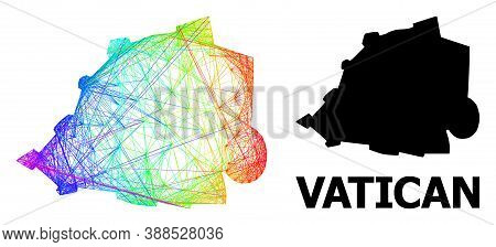 Net And Solid Map Of Vatican. Vector Model Is Created From Map Of Vatican With Intersected Random Li