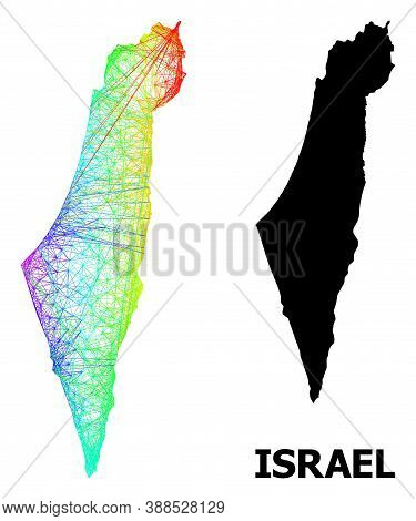Wire Frame And Solid Map Of Israel. Vector Model Is Created From Map Of Israel With Intersected Rand