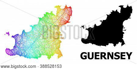 Wire Frame And Solid Map Of Guernsey Island. Vector Model Is Created From Map Of Guernsey Island Wit