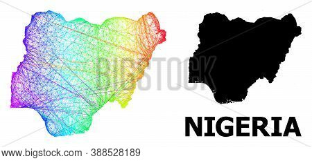 Network And Solid Map Of Nigeria. Vector Structure Is Created From Map Of Nigeria With Intersected R