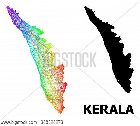 Wire Frame And Solid Map Of Kerala State. Vector Model Is Created From Map Of Kerala State With Inte