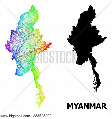 Wire Frame And Solid Map Of Myanmar. Vector Structure Is Created From Map Of Myanmar With Intersecte