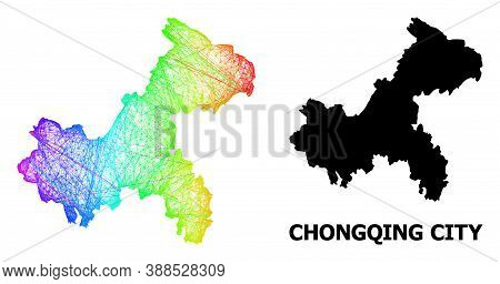 Wire Frame And Solid Map Of Chongqing Municipality. Vector Structure Is Created From Map Of Chongqin