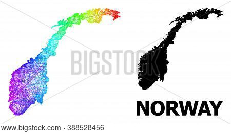 Wire Frame And Solid Map Of Norway. Vector Structure Is Created From Map Of Norway With Intersected