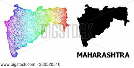 Network And Solid Map Of Maharashtra State. Vector Structure Is Created From Map Of Maharashtra Stat