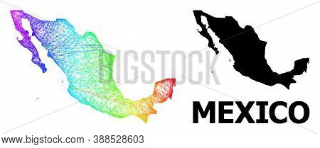 Net And Solid Map Of Mexico. Vector Structure Is Created From Map Of Mexico With Intersected Random