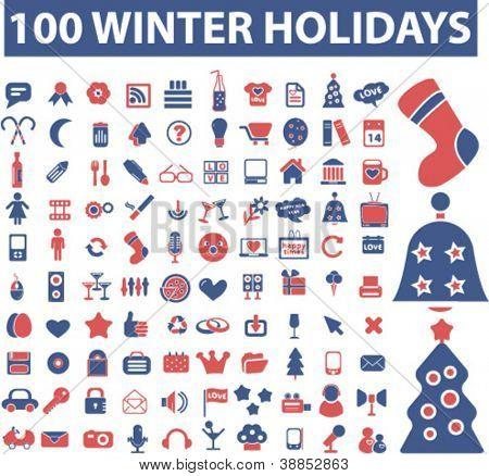 100 winter & christmas holidays icons set, vector