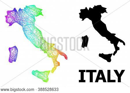 Wire Frame And Solid Map Of Italy. Vector Model Is Created From Map Of Italy With Intersected Random