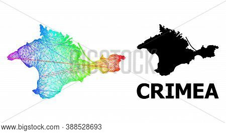 Wire Frame And Solid Map Of Crimea. Vector Model Is Created From Map Of Crimea With Intersected Rand