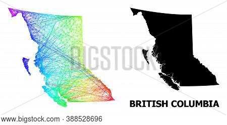 Wire Frame And Solid Map Of British Columbia Province. Vector Structure Is Created From Map Of Briti