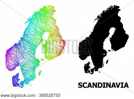 Wire Frame And Solid Map Of Scandinavia. Vector Model Is Created From Map Of Scandinavia With Inters