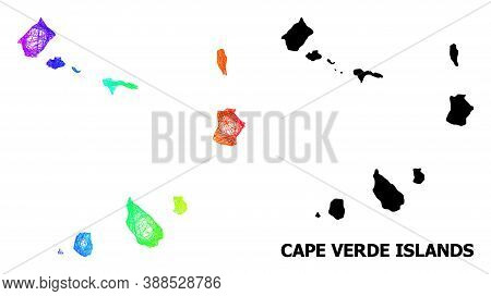 Wire Frame And Solid Map Of Cape Verde Islands. Vector Model Is Created From Map Of Cape Verde Islan