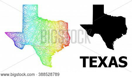 Wire Frame And Solid Map Of Texas State. Vector Model Is Created From Map Of Texas State With Inters