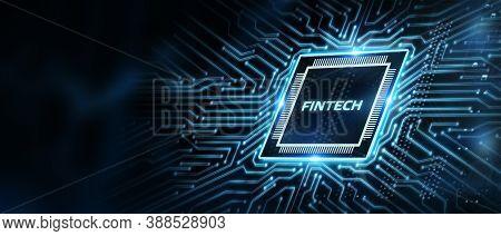 Fintech -financial Technology Concept. Select The Icon Fintech On The Virtual Display.3d Illustratio