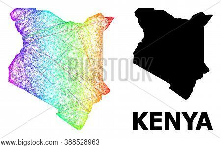 Network And Solid Map Of Kenya. Vector Model Is Created From Map Of Kenya With Intersected Random Li