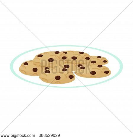 Plate With Delicious Cookies Isolated On White Background. Pastry, Home Made Dessert. Tasty And Cris
