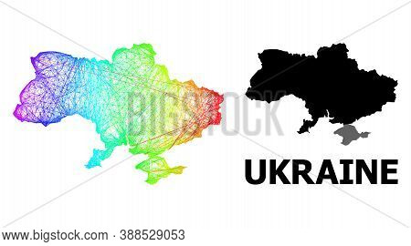 Wire Frame And Solid Map Of Ukraine. Vector Structure Is Created From Map Of Ukraine With Intersecte
