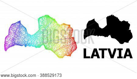 Wire Frame And Solid Map Of Latvia. Vector Model Is Created From Map Of Latvia With Intersected Rand