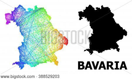 Wire Frame And Solid Map Of Bavaria State. Vector Model Is Created From Map Of Bavaria State With In