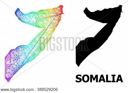 Net And Solid Map Of Somalia. Vector Structure Is Created From Map Of Somalia With Intersected Rando