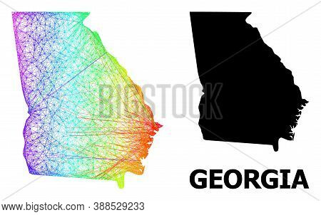 Wire Frame And Solid Map Of Georgia State. Vector Model Is Created From Map Of Georgia State With In