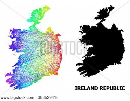 Wire Frame And Solid Map Of Ireland Republic. Vector Structure Is Created From Map Of Ireland Republ