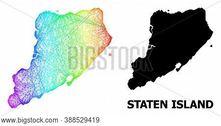Network And Solid Map Of Staten Island. Vector Model Is Created From Map Of Staten Island With Inter