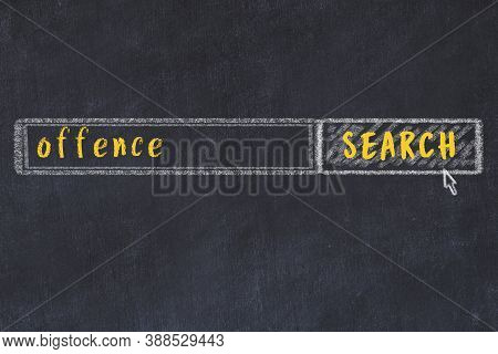 Drawing Of Search Engine On Black Chalkboard. Concept Of Looking For Offence