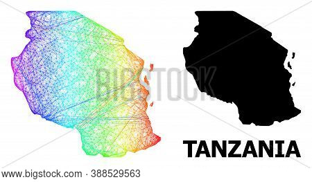 Net And Solid Map Of Tanzania. Vector Model Is Created From Map Of Tanzania With Intersected Random