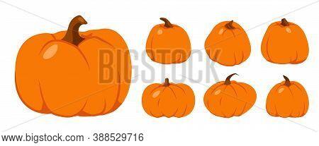 Set Of Autumn Pumpkin Flat Icon. Ripe Vegetable Squash. Cartoon Different Shape Orange Gourd. Symbol