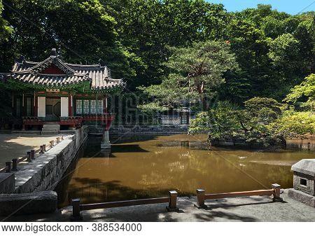 Lotus Pond And Pavilion At The Huwon Park (secret Garden).  Changdeokgung Palace (prospering Virtue