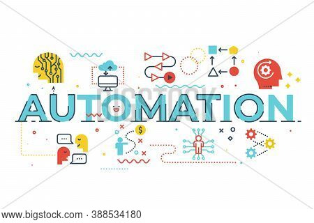 Automation Word Lettering Illustration With Icons For Web Banner, Flyer, Landing Page, Presentation,