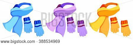 Winter Warm Scarf And Wool Gloves. Winter Clothing For Cold Weather. Caring For Health Of Children.