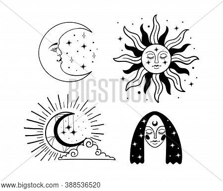 Set Of Beautiful Mystical Elements In Boho Style, Sun And Crescent With A Face, The Moon, A Female F