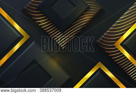 Background With Black Diamond Shapes. Abstract Layered Papercut Decoration Textured With Golden Elem