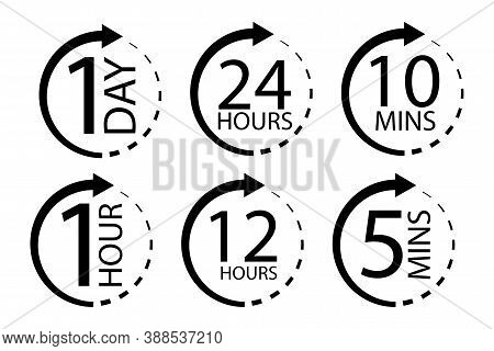 Clock Icon With Different Times. Delivery Or Service Symbol. Day, Hour, Minute Of Work. Vector Illus