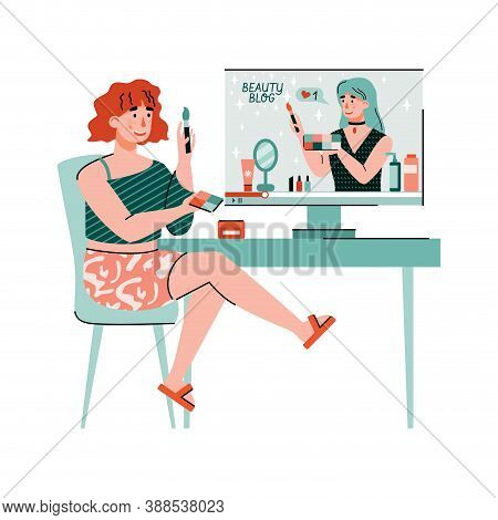 Woman Watching Makeup Advices From Beauty Blogger, Flat Cartoon Vector Illustration Isolated On Whit